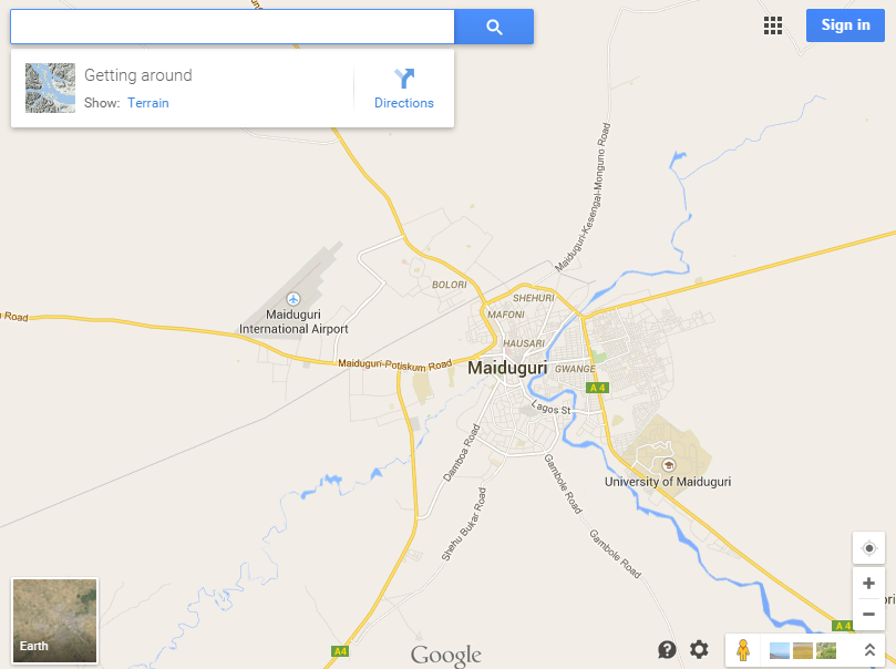 Maiduguri, vue du Google occidental